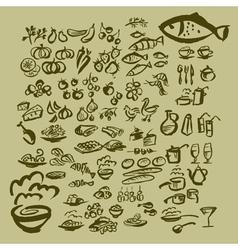 sketch food icon set vector image vector image