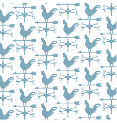 background pattern with rooster weather vane vector image