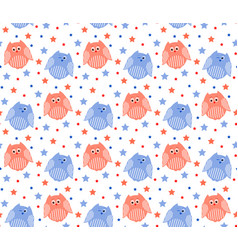 cute red and blue owls with stars in the vector image vector image