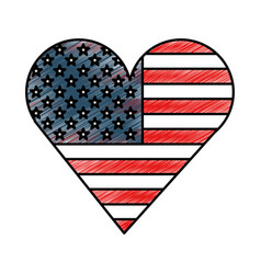 heart with american flag vector image