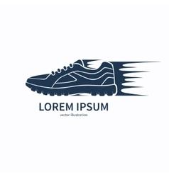 Speeding running shoe icon symbol or logo vector image
