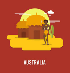 Aborigine historic people australia design vector