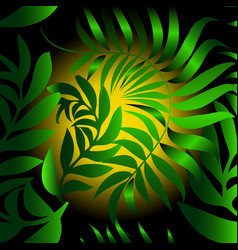 abstract leafy seamless pattern green vector image
