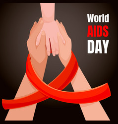 Aids day concept background cartoon style vector