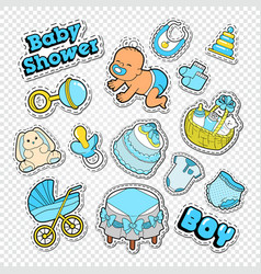 Baby shower doodle with boy toys vector
