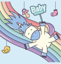 bashower playing cute unicorn rainbow vector image