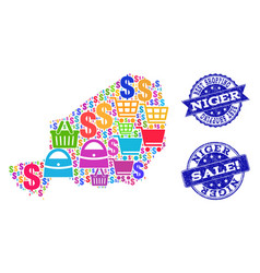 Best shopping collage of mosaic map of niger and vector