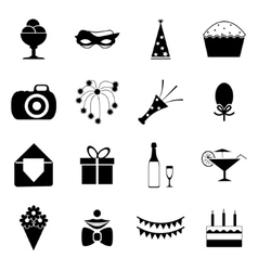 Birthday party celebrate isolated silhouette icons vector