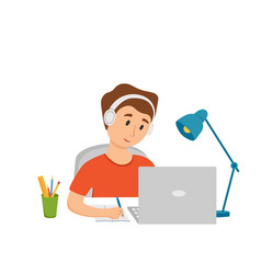 Boy studying online education at home cartoon vector