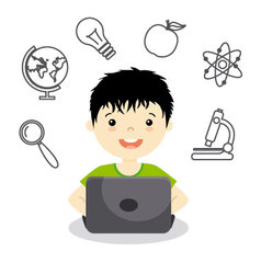 Boy studying online vector