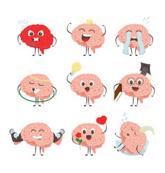 brain characters making sport exercises and vector image