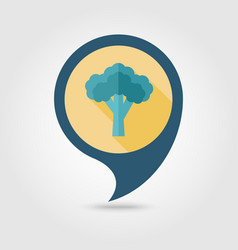 Broccoli flat pin map icon vegetable vector
