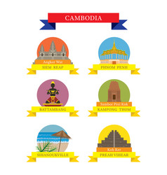 Cambodia provinces and landmarks icons set vector