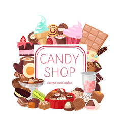 candy shop banner bakery and vector image