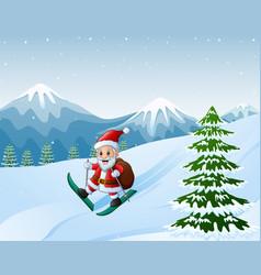 cartoon santa claus skiing vector image
