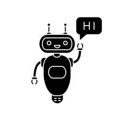 Chatbot saying hi glyph icon vector