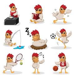 chicken characters doing different activities vector image