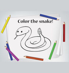 children snake coloring worksheet vector image