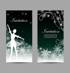 Christmas and new year invitations with ballerina vector