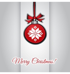 Christmas greeting card with ball hanging and vector image