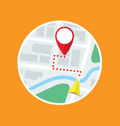 city map with gps symbol and route flat icon vector image