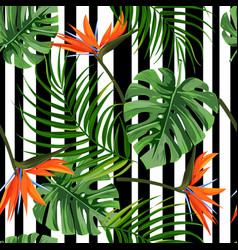 colorful tropical plant background seamless vector image