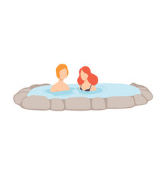Couple enjoying outdoor thermal spring young man vector