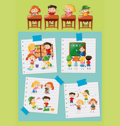 different activities of students at school vector image
