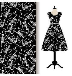 Dress fabric pattern with dancing skeletons vector