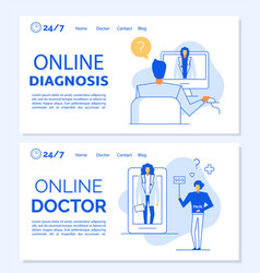 e-health digital clinic service landing page set vector image
