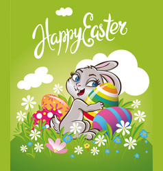 Easter bunny rabbit on the meadow with easter vector