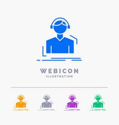 engineer headphones listen meloman music 5 color vector image