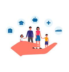family insurance banner - giant hand holding vector image