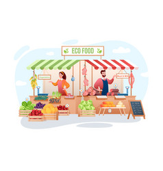 Farm market cartoon flat vector