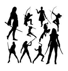 female warrior silhouettes vector image