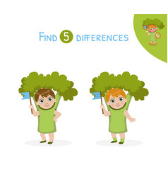 Find differences educational game for kids cute vector