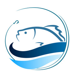 Fish on the waves and a hook vector