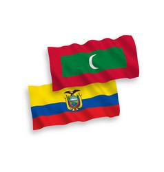 Flags maldives and ecuador on a white vector