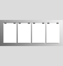 Four vertical posters mockup a4 mock-up vector