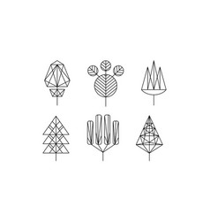 geometrical trees set monochrome polygonal plants vector image