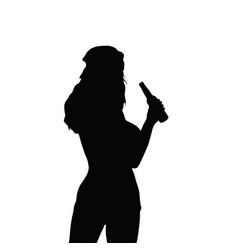 Girl silhouette hold beer bottle vector
