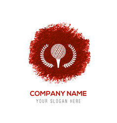 Golf crossed tees icon - red watercolor circle vector