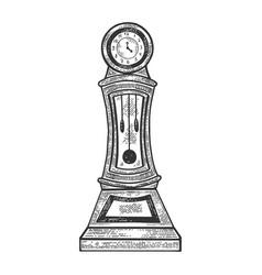 Grandfather clock vintage sketch vector
