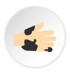 Hand with dirty stains icon circle vector