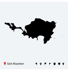 High detailed map of Sint Maarten with navigation vector