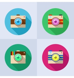 Icon set of camera with long shadow vector