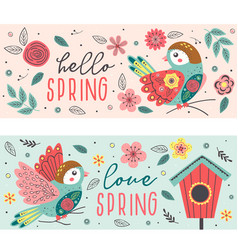 isolated spring banners with beautiful birds vector image