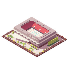 Isometric low poly ice hockey rink vector