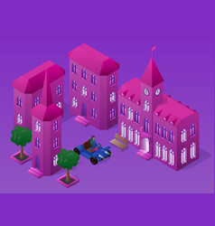 Isometric night cityscape with buildings car vector