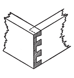 Lap dovetail joint vintage vector